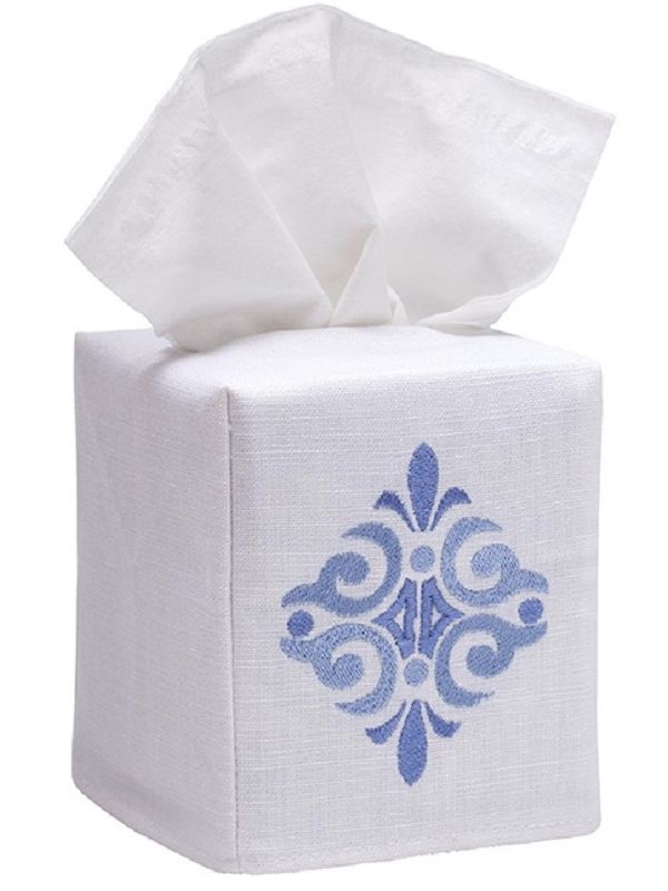 DG17-AMSBL** Tissue Box Cover, Linen Cotton - Amalfi Scroll (Blue)
