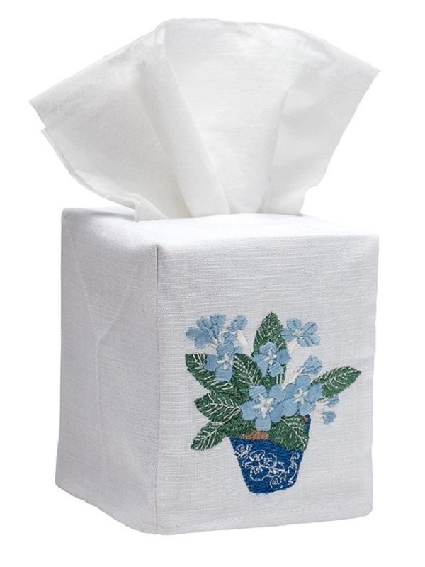 DG17-CPDEB Tissue Box Cover, Linen Cotton - Cache Pot (Duck Egg Blue)