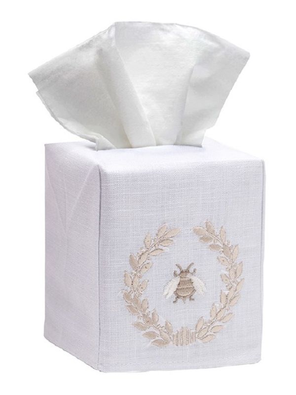 DG17-NBWBE** Tissue Box Cover, Linen Cotton - Napoleon Bee Wreath (Beige)