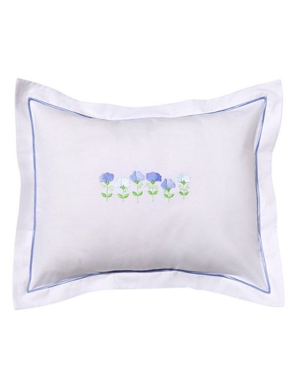 DG78-RSPBL Boudoir Pillow Cover - Row of Sweet Peas (Blue)