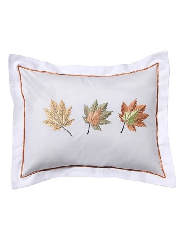 "DG79-MLHG-MLFG-MLGR Boudoir Cover, Cotton Percale (12""x16"") - Maple Leaves (Honey Gold, Forest Green, Green-Red)"