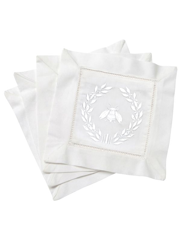 LG82-NBWW Cocktail Napkins - Napoleon Bee Wreath (White)**. Set of 4