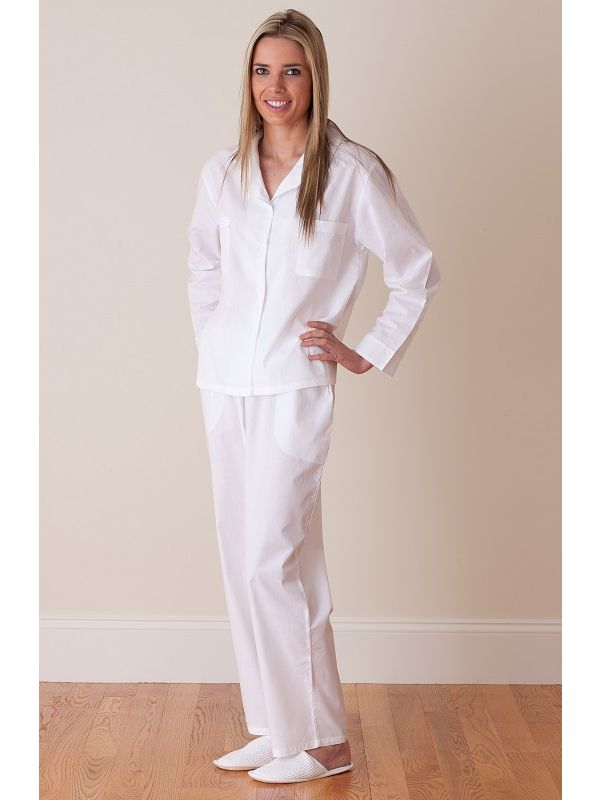 Christine White Cotton Pajamas** - EL293
