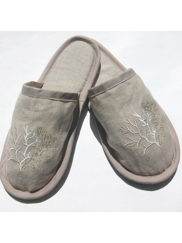 DG40-CLBE Slippers, Natural Linen - Coral (Beige)
