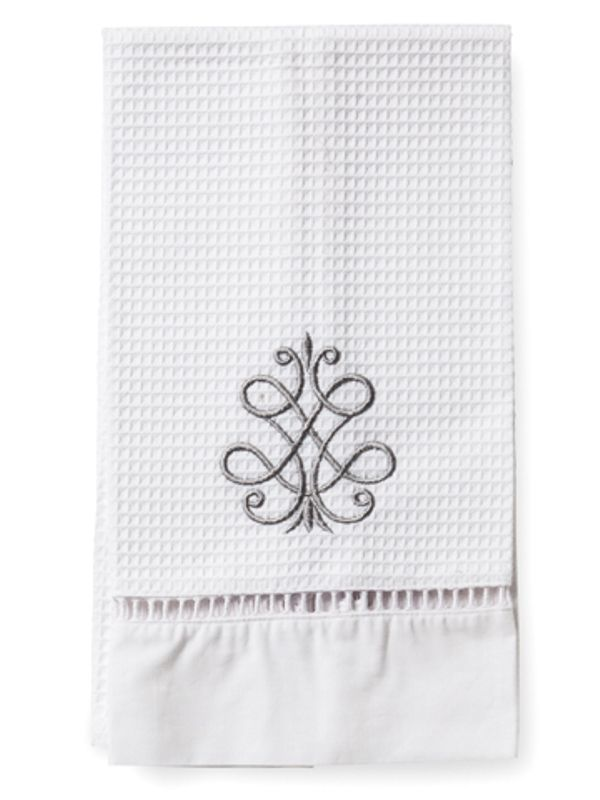 DG02-FSPW Guest Towel, Waffle Weave - French Scroll (Pewter)