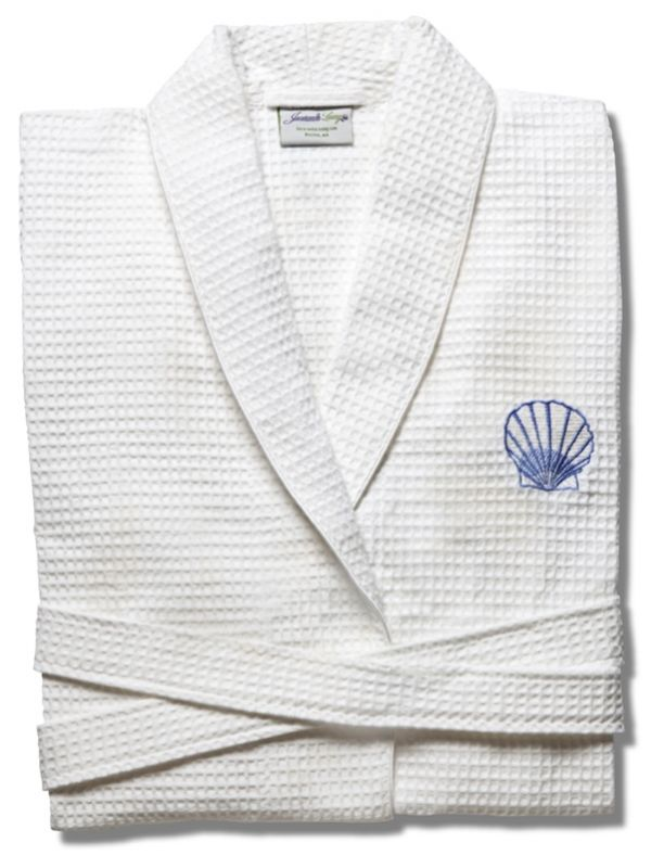 Bathrobe** - White Waffle Weave, Embroidered (Scallop, Blue)