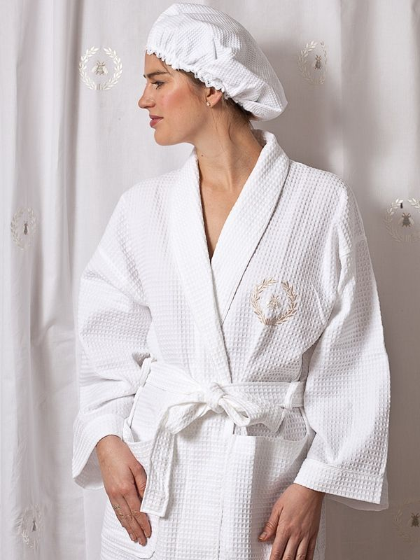 Bathrobe** - White Waffle Weave, Embroidered (Napoleon Bee Wreath, Beige) - TZ07