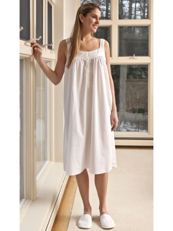 Dee White Cotton Nightgown, Embroidered** - EL207
