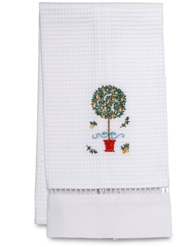 DG02-PTTY Guest Towel, Waffle Weave - Pear Topiary Tree (Yellow)