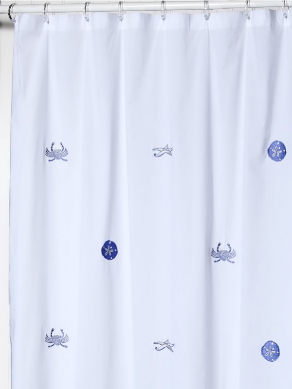 LG72-SLBL** Shower Curtain, Cotton Percale - Sealife (Blue)