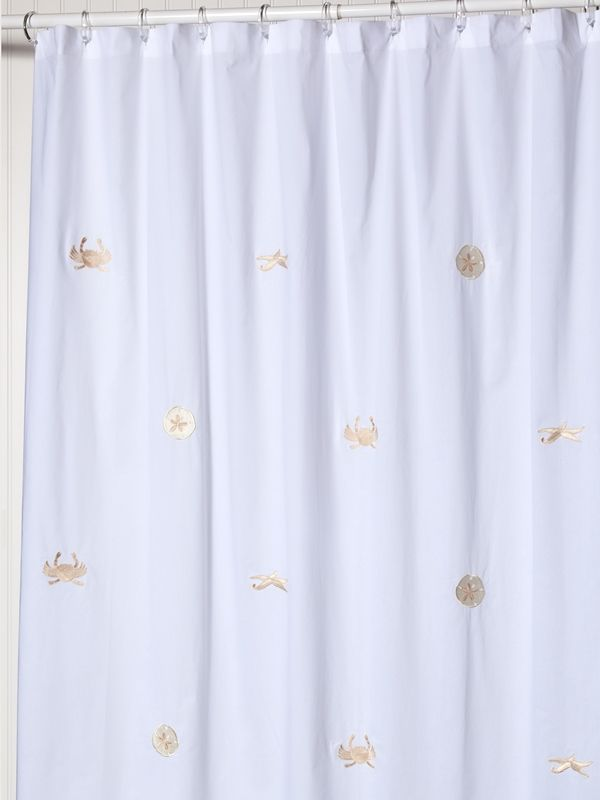 LG72-SLBE** Shower Curtain, Cotton Percale - Sealife (Beige)