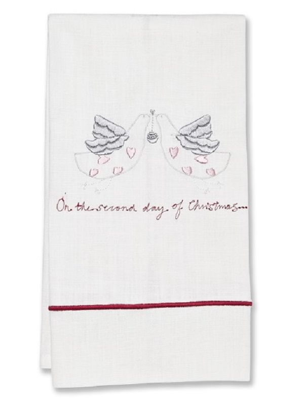 DG84 - SDCH Guest Towel, White Linen, Satin Stitch Second Day of Christmas