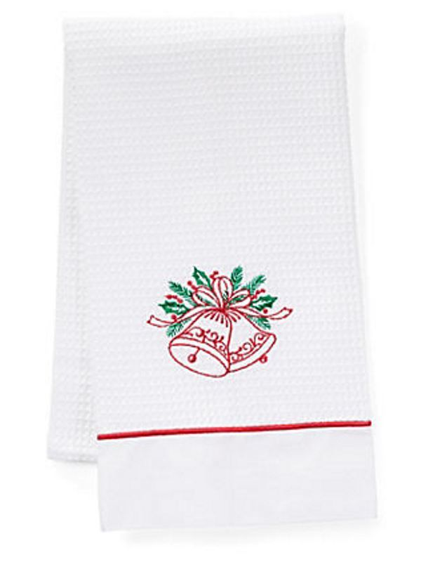 DG08-BHRG Guest Towels, Waffle Weave and Satin Trim - Bells Holiday (Red, Green)