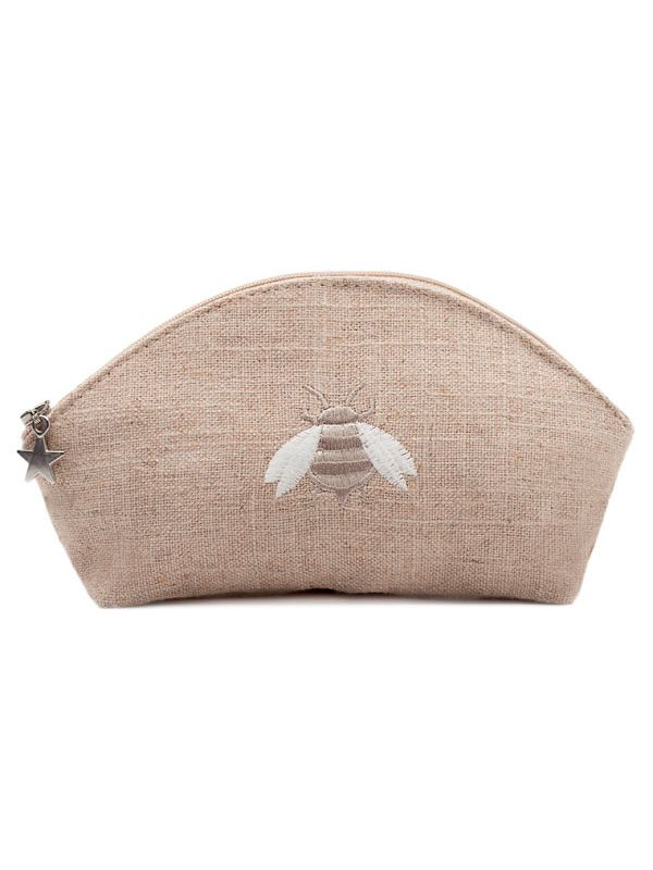 Cosmetic Bag (Small) - Natural Linen, Embroidered