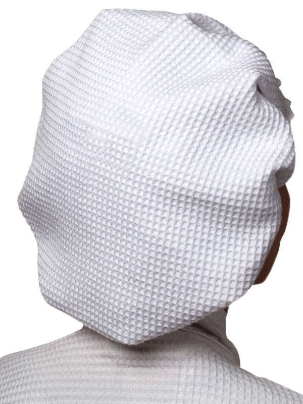 Shower Cap,** - White Cotton Waffle Weave