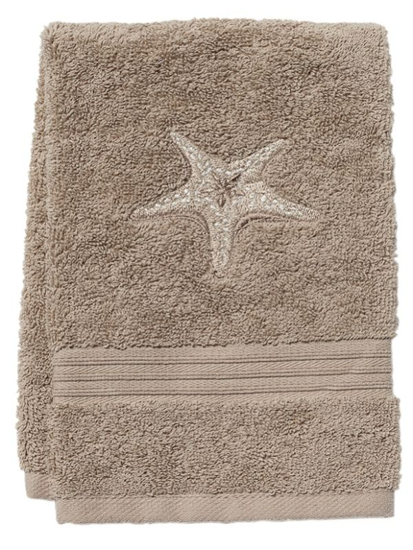 DG71-MSFBE** Guest Towel, Taupe Terry - Morning Sun Starfish (Beige)