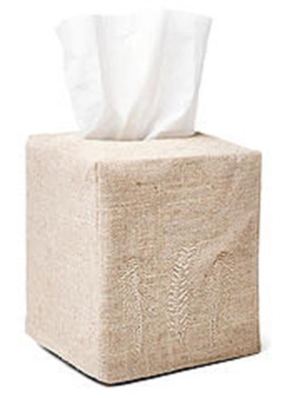 DG23-FTCO Tissue Box Cover, Natural Linen - Feathers (Copper)