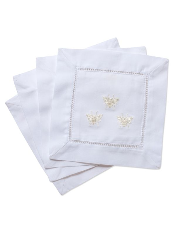 LG82-TBCR Cocktail Napkins - Three Bees (Cream)**. Set of 4