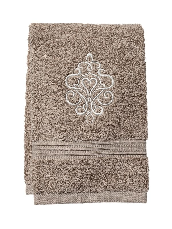 DG71-TSBE Guest Towel, Taupe Terry - Tuscan Scroll (Beige)