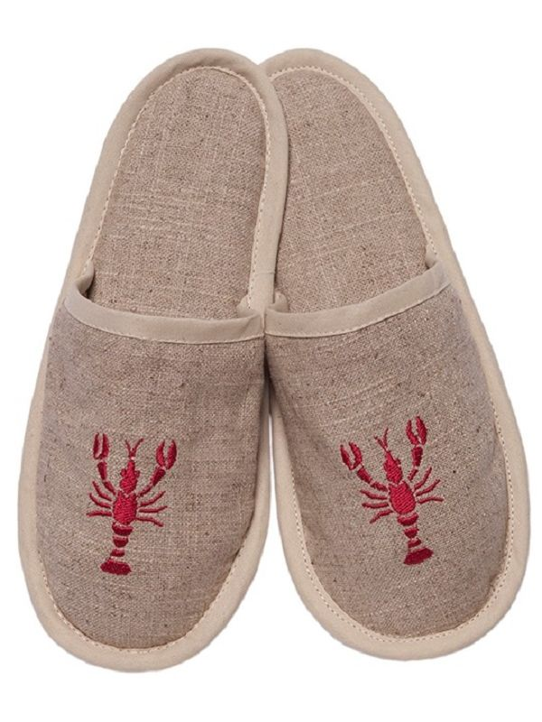 DG40-LOR Slippers, Natural Linen - Lobster (Red)