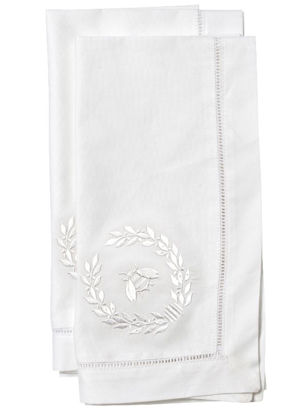 LG81-NBWW Dinner Napkin, Napoleon Bee Wreath (White)** Set of 2