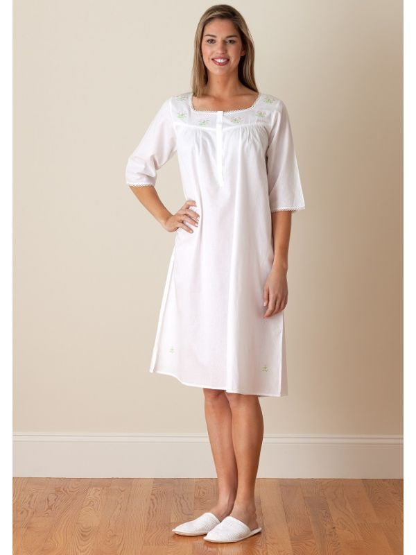Isabelle White Cotton Nightgown, Embroidered** - EL234