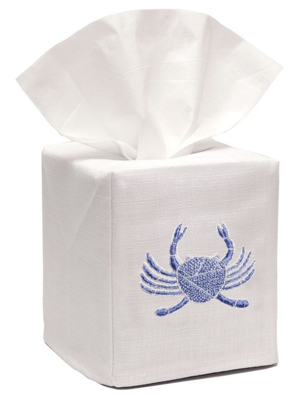 DG17-CRBL** Tissue Box Cover, Linen Cotton - Crab (Blue)