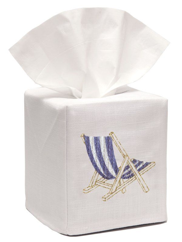 DG17-DCHBL Tissue Box Cover, Linen Cotton - Deck Chair (Blue)