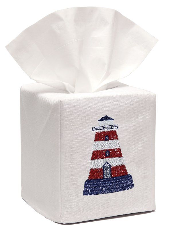 DG17-LHRW** Tissue Box Cover, Linen Cotton - Lighthouse (Red/White)