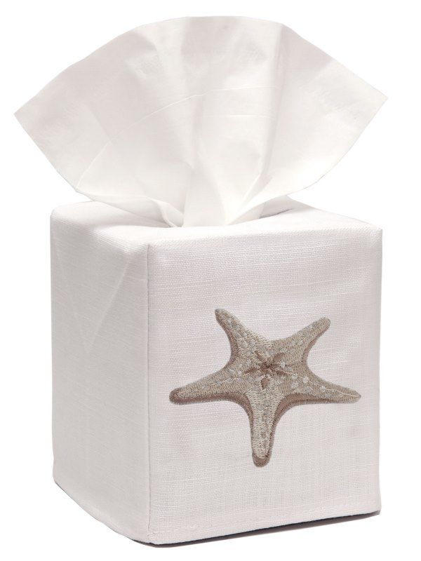 DG17-MSFBE** Tissue Box Cover, Linen Cotton - Morning Starfish (Beige)