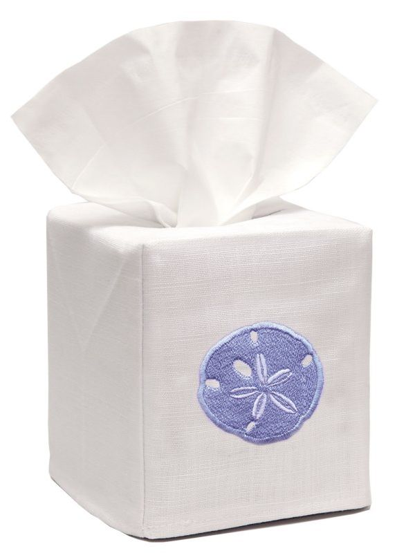 DG17-SDBL** Tissue Box Cover, Linen Cotton - Sand Dollar (Blue)