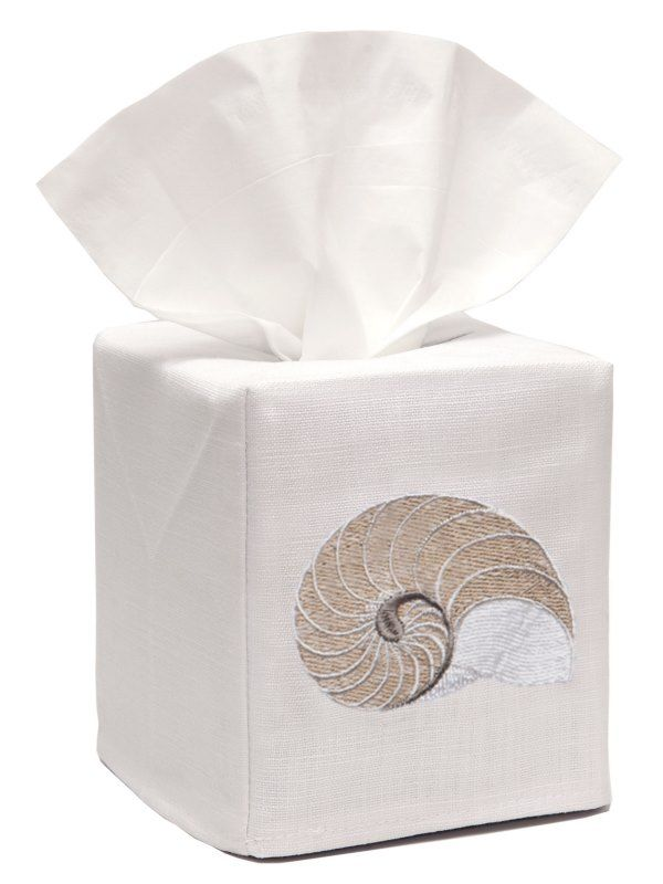 DG17-STNBE** Tissue Box Cover, Linen Cotton - Striped Nautilus (Beige)