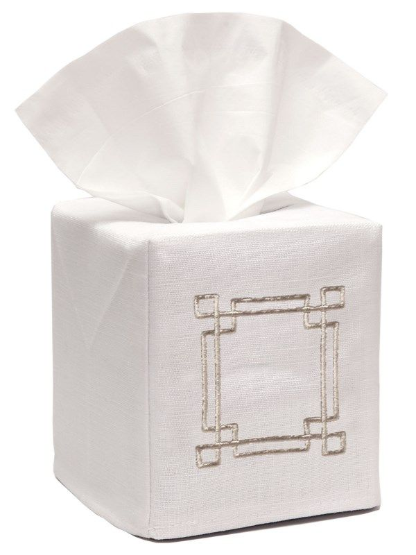 DG17-GKBE** Tissue Box Cover, Linen Cotton - Greek Key (Beige)