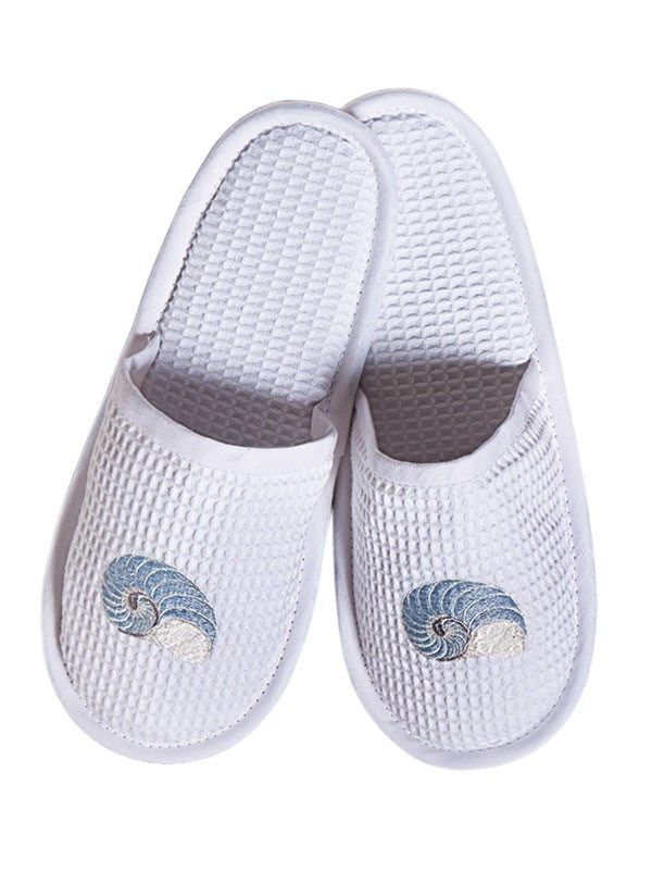 DG05-STNDE Slippers, Waffle Weave - Striped Nautilus (Duck Egg Blue)