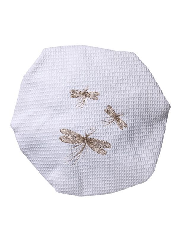 DG09-THDBE-C** Shower Cap, Waffle Weave - Three Classic Dragonflies - Classic (Beige)