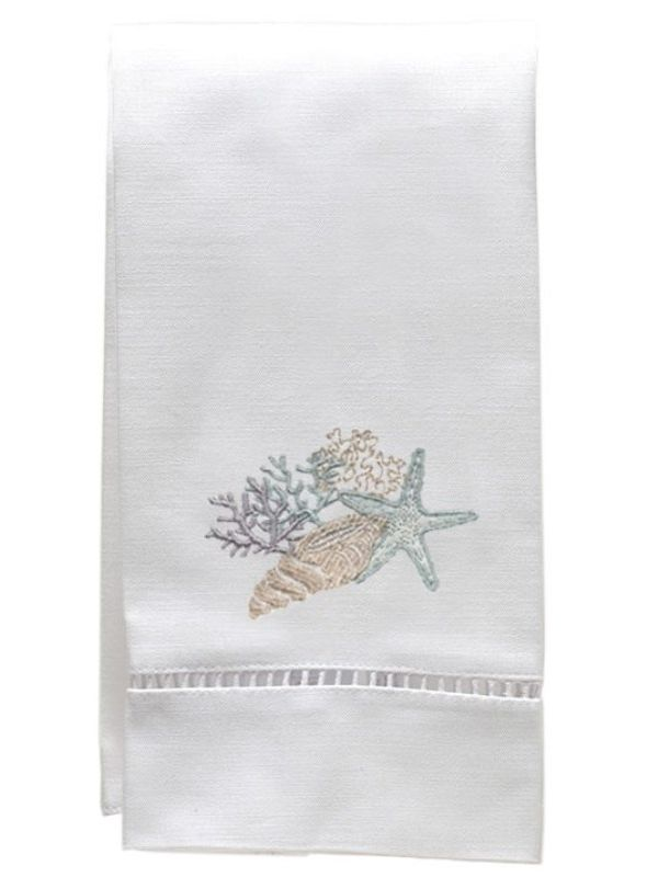 DG21-SCHDE Guest Towel, White Linen & Satin Stitch - Shell Collection (Duck Egg Blue)