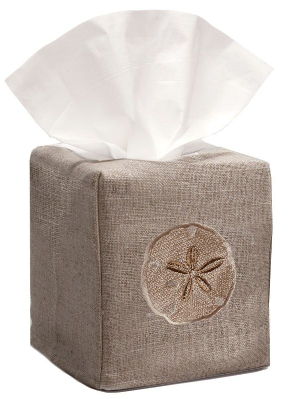 DG23-SDBE Tissue Box Cover, Natural Linen - Sand Dollar (Beige)