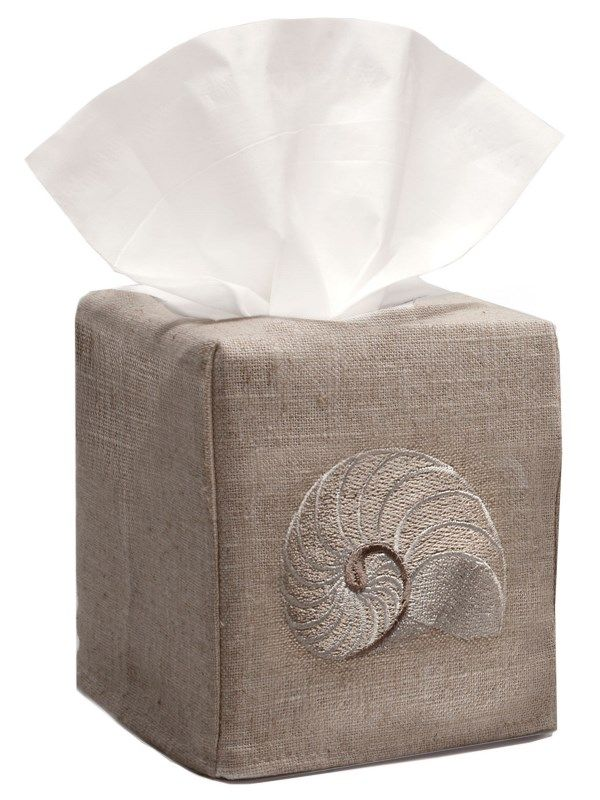 DG23-STNBE Tissue Box Cover, Natural Linen - Striped Nautilus (Beige)
