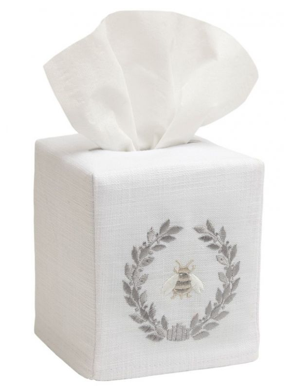 DG17-NBWPW Tissue Box Cover, Linen Cotton - Napoleon Bee Wreath (Pewter)