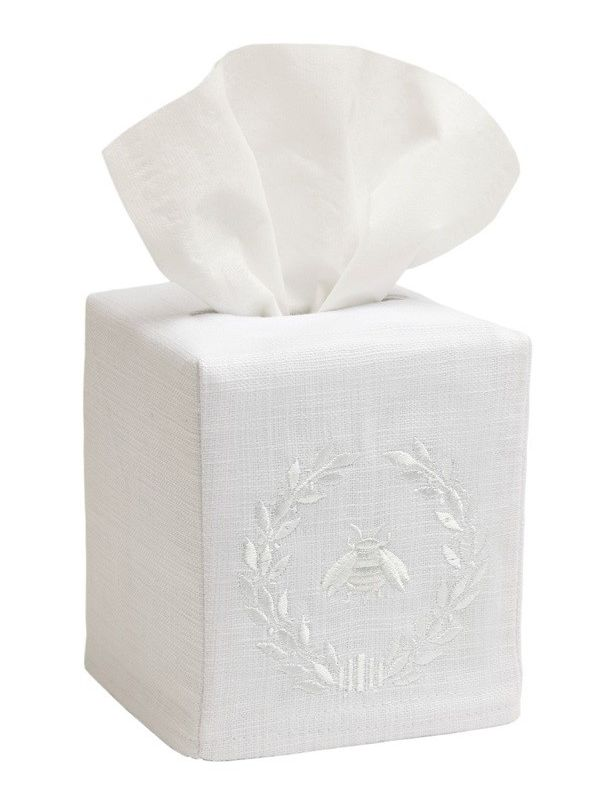 DG17-NBWWH** Tissue Box Cover, Linen Cotton - Napoleon Bee Wreath (White)