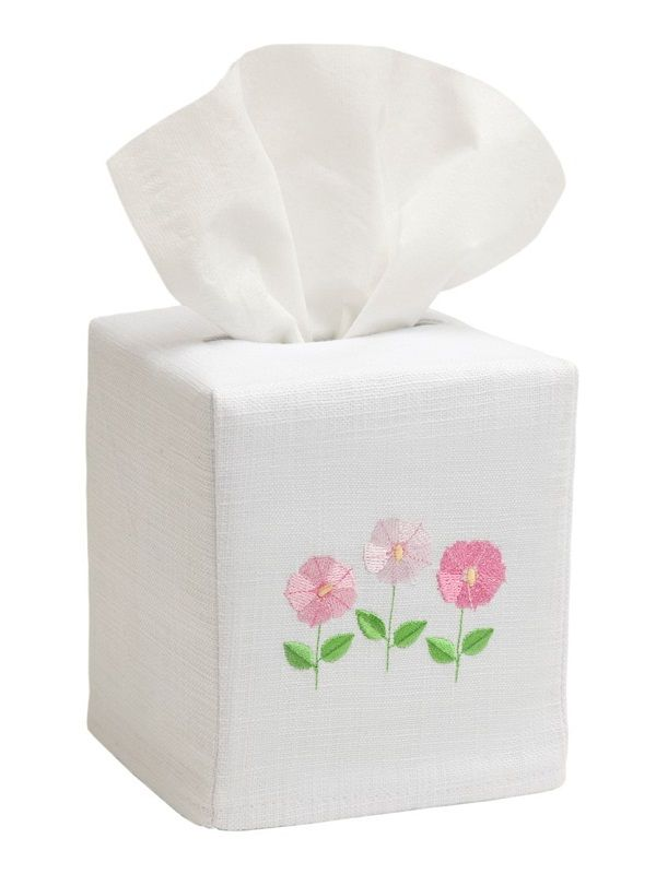 DG17-ROFPK Tissue Box Cover, Linen Cotton - Row of Flowers (Pink)