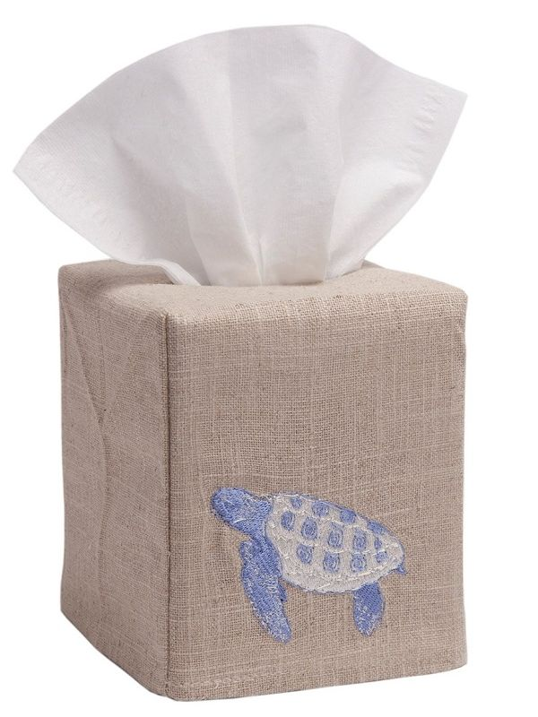 DG23-STBL** Tissue Box Cover, Natural Linen - Sea Turtle (Blue)