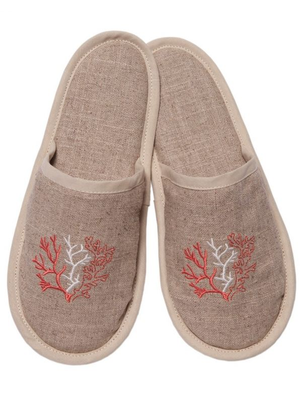 DG40-CLCL Slippers, Natural Linen - Coral (Coral)