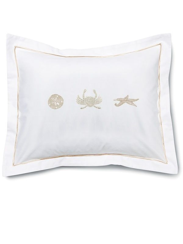 "DG79-SDBE-CRBE-SFBE Boudoir Pillow Cover, Cotton Percale  (12"" x 16"") -  Sand Dollar, Crab, Starfish (Beige)"