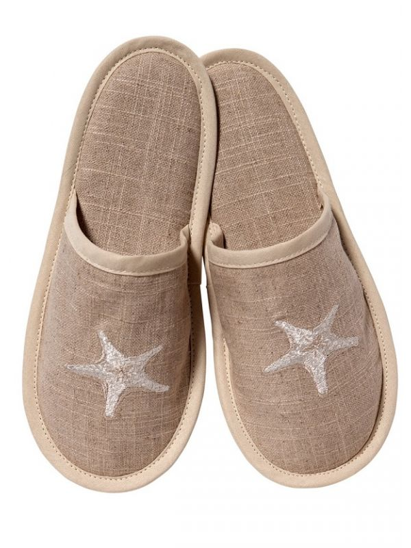 Slippers (Closed Toe) - Natural Linen, Embroidered