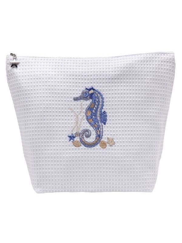 DG54-SHSBL Cosmetic Bag (Large) - Waffle Weave - Seahorse & Shells (Blue)