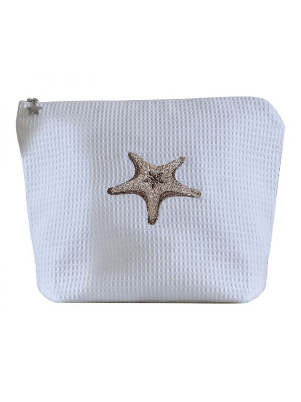 DG54-MSFBE Cosmetic Bag (Large), Waffle Weave - Morning Starfish (Beige)