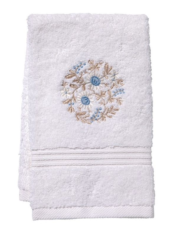 DG70-FWBB Guest Towel, Terry - Flower Wheel (Blue / Beige)