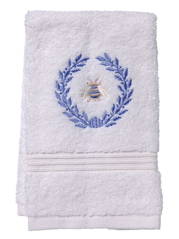 DG70-NBWBL Guest Towel, Terry - Napoleon Bee Wreath (Blue)