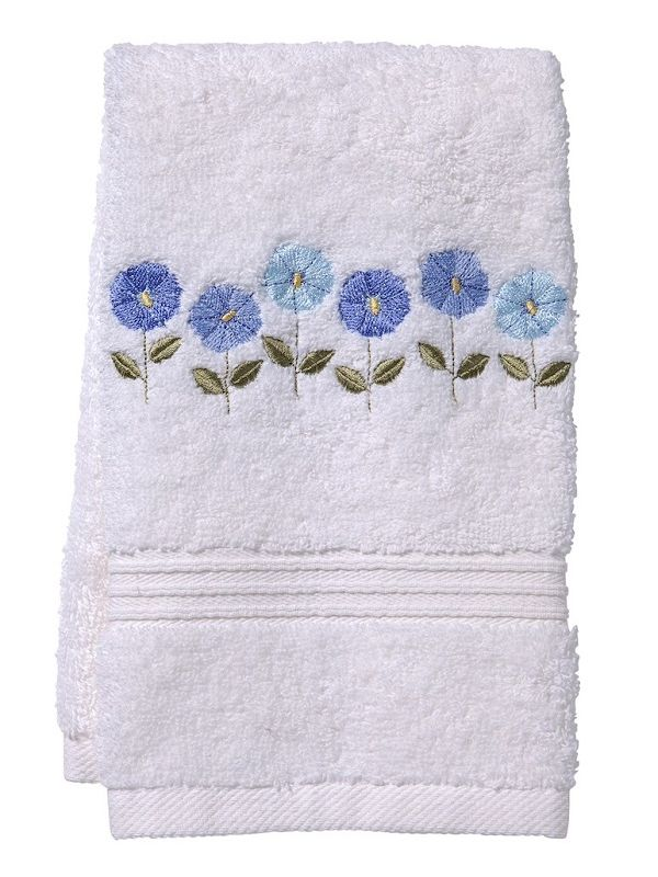 DG70-ROFBL** Guest Towel, Terry - Row of Flowers (Blue)